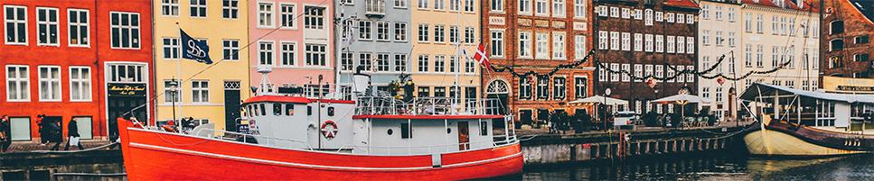 row houses, river, boats, Copenhagen